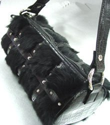 Black Genuine Rabbit Fur Black Bag Handbag