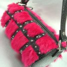 Pink Genuine Rabbit Fur Black Bag Handbag   14009317