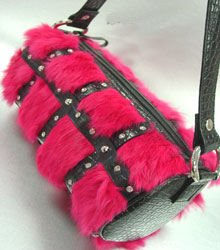 Pink Genuine Rabbit Fur Black Bag Handbag   14009317