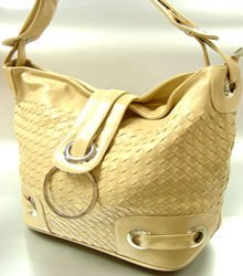 Beige Weave Satchel Ring Duffle Shoulder Bag Handbag 18933
