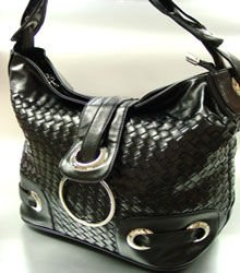 Black Weave Satchel Ring Duffle Shoulder Bag  Handbag 18933