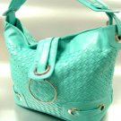 Blue Weave Satchel Ring Duffle Shoulder Bag Handbag 18933