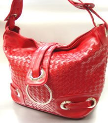 Red Weave Satchel Ring Duffle Shoulder Bag Handbag  18933