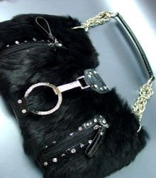 Crystal accents Black Rabbit Fur Black Petit HoBo Bag  Handbag  19334
