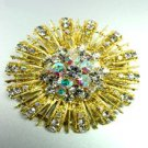 Clear Swarovski Crystals Gold Brooch Pin   1BP49971