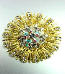 Clear Swarovski Crystals Gold Brooch Pin   1BP49971