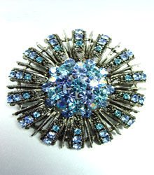 Blue Swarovski Crystals Brooch Pin  1BP49971
