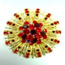 Red Swarovski Crystals Gold Brooch Pin   1BP49971