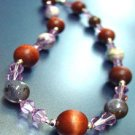 Lavender Swarovski Crystals Wood Necklace  1n002082