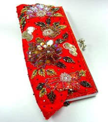 Red Crystal Beads & Sequins Handbag  Clutch Hobo Style