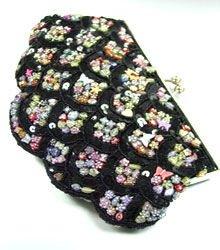 Black Sequins & Multi Buttons Shell Bag  1BAG0503