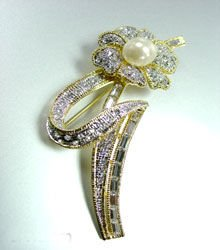 Gold Crystals Pearl Brooch Pin 1BP1925350