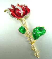 Gold Color Enamel Rose Brooch Pin Crystal Accents 1BP111268