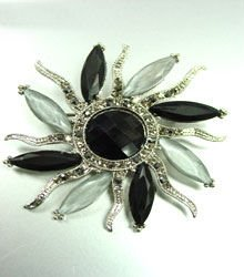 Black Crystals StarBurst Brooch Pin  1BP4001591