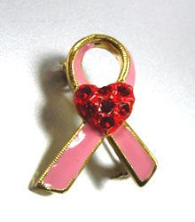 Pink Gold Ribbon Red Heart Brooch Cancer awareness 1BP1112904