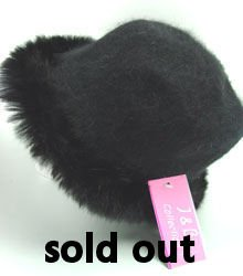 Black Angora with Rabbit  Fur Trim Fashion Hat  10H400205