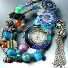 Blue Beads Crystals Tassel Bracelet Watch  1WB235006