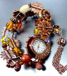 Brown Beads Crystal Tassel Bracelet Watch 1WB235006