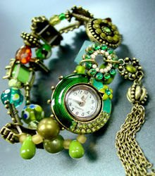 Green Beads Crystal Tassel Bracelet Watch  1WB235006