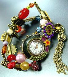 Multi Beads Crystals Tassel Bracelet Watch 1WB235006