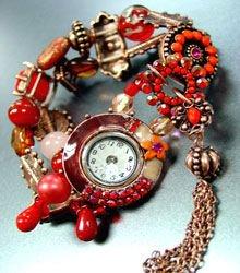 Red Beads Crystals Tassel Bracelet Watch 1WB235006
