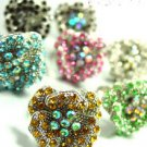 Dozen Color Crystals Rose Flower Rings   100FR18209