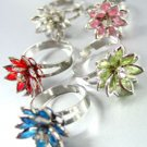 Dozen Colorful Lucite Crystals Flower Rings   1DR400145