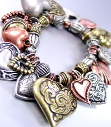 Multi Antique Heart Charms Bracelet