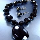 Black Glass Crystals Necklace Set  1N001884