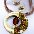 Brown Epoxy Enamel Antique Necklace Set