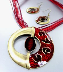 Red Epoxy Enamel Antique Necklace Set