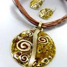 Brown Epoxy Crystals Antique Necklace Set