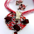 Red Epoxy Crystals Antique Necklace Set