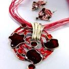 Red Epoxy Crystals Antique Necklace Set