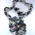 Black Epoxy Crystals Beads Necklace Set