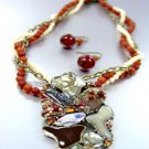 Brown Epoxy Crystals Beads Necklace Set