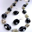 Black Jade Stone Beads Necklace Set