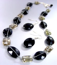 Black Jade Stone Beads Necklace Set