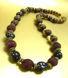 Natural Wood Silk Copper Long Necklace
