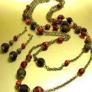 Natural Brown Beads Antique Long Neck Set