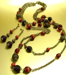 Natural Brown Beads Antique Long Neck Set
