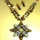 Natural Pearls Multi Crystals Neck Set