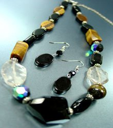 Natural Black Tigers Eye Necklace Set