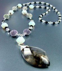 White Opal Stones Quartz Long Necklace