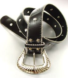 Black Crystals Studded Fashion Belt
