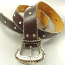 Brown Crystals Studded Fashion Belt