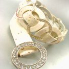 Creme Glitter Silver Rings Belt