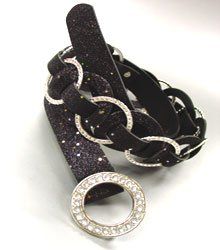 Black Glitter Silver Rings Belt