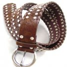 Brown Silver Studded Buckle Belt