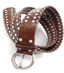 Brown Silver Studded Buckle Belt
